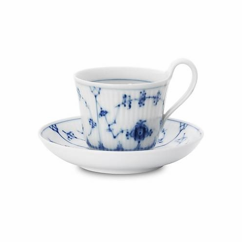 Blue Fluted Plain Cup and Saucer with high handle 11.75oz