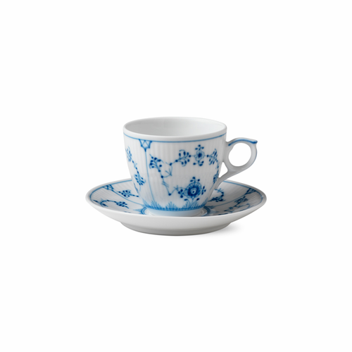 Blue Fluted Plain Espresso Cup and Saucer