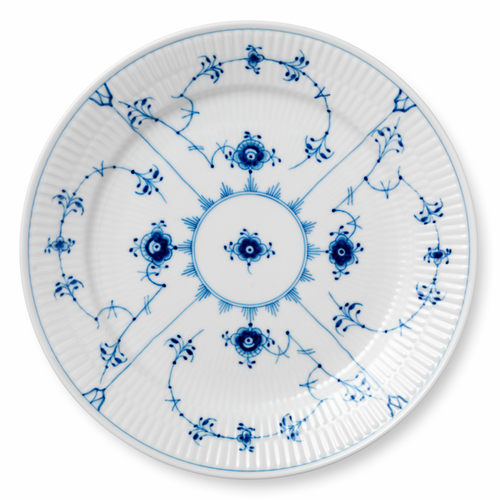 """Blue Fluted Plain Luncheon Plate, 9.75"""""""