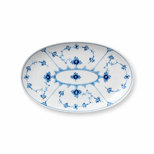 Blue Fluted Plain Oval Accent Dish, 9""