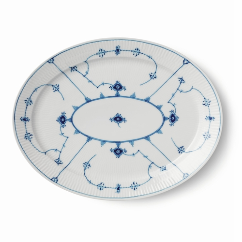Blue Fluted Plain Oval Dish, 13.5""