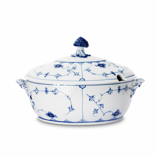 Blue Fluted Plain Oval Soup Tureen