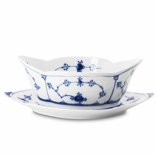 Blue Fluted Plain Sauce Boat