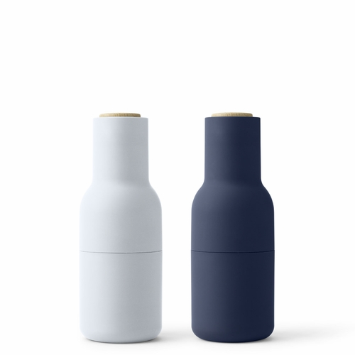 Bottle Grinders, Classic Blue, Beech Lid, Set of 2