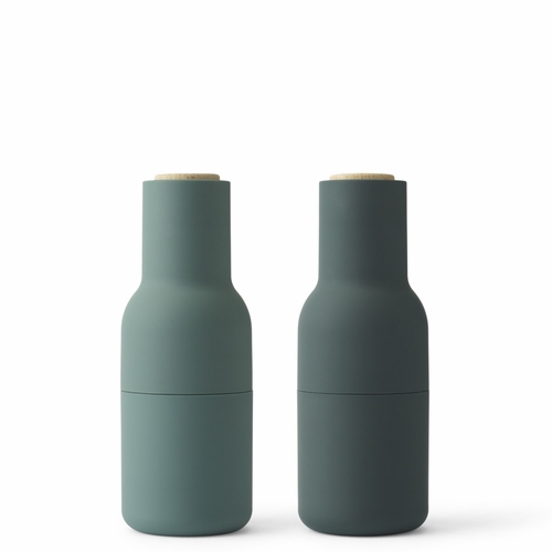 Menu Bottle Grinders, Dark Green, Beech Lid, Set of 2