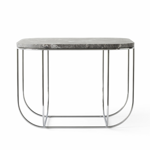 Cage Table, Chrome with Grey Marble