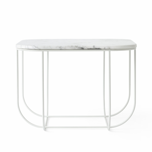Cage Table, White with White Marble