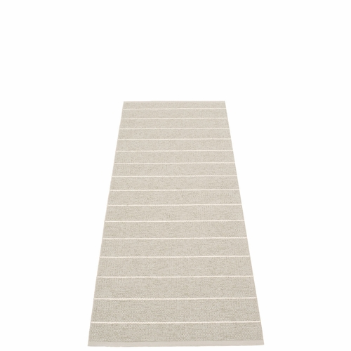 Pappelina Carl Plastic Rug - Linen with Reverse in Beige, Stripes in Vanilla, 2 1/4' x 6'
