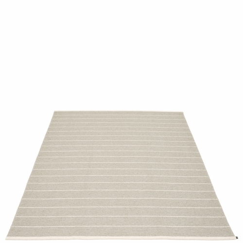 """Pappelina Carl Plastic Rug - Linen with Reverse in Beige, Stripes in Vanilla, 72"""" x 102"""""""