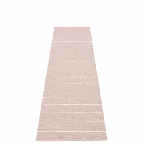 Pappelina Carl Plastic Rug - Pale Rose with Reverse in Ballet, Stripes in Vanilla, 2 1/4' x 8 1/2'