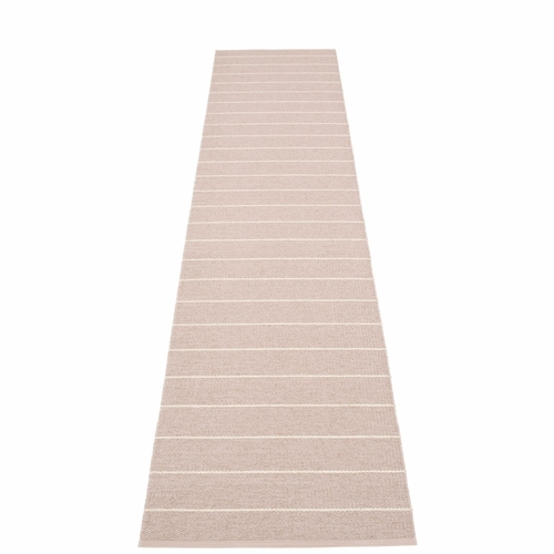Pappelina Carl Plastic Rug - Pale Rose with Reverse in Ballet, Stripes in Vanilla, 2 1/4' x 11 1/2'