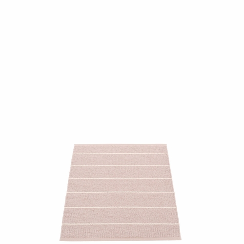 "Pappelina Carl Plastic Rug - Pale Rose with Reverse in Ballet, Stripes in Vanilla, 27"" x 36"""