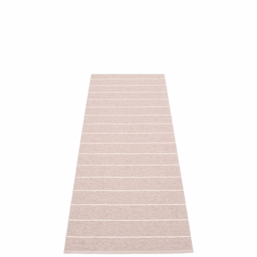"Carl Plastic Rug - Pale Rose with Reverse in Ballet, Stripes in Vanilla, 27"" x 72"""