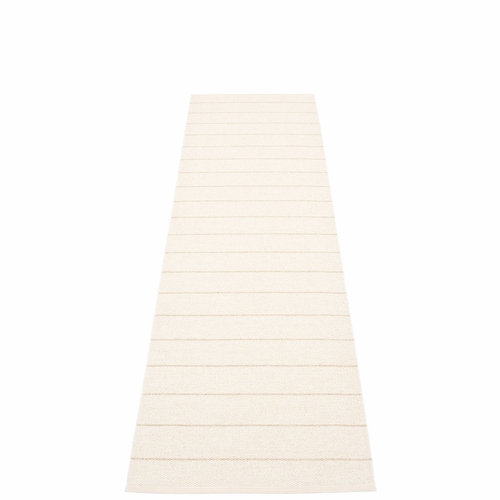 Pappelina Carl Plastic Rug - Vanilla with Reverse in White, Champagne Metallic Stripes, 2 1/4' x 8 3/4'