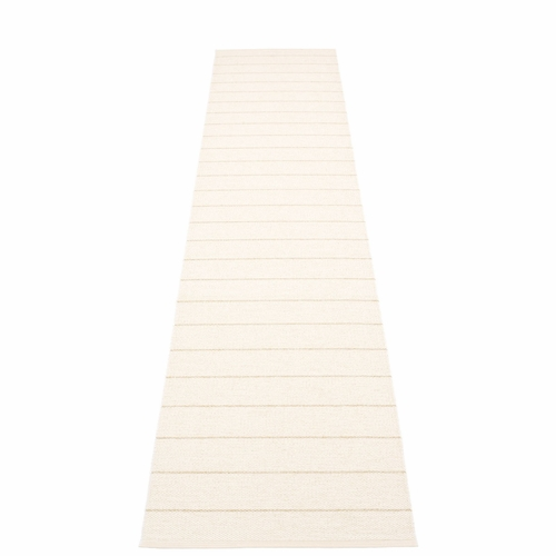 """Pappelina Carl Plastic Rug - Vanilla with Reverse in White, Champagne Mettalic Stripes, 27"""" x 138"""""""