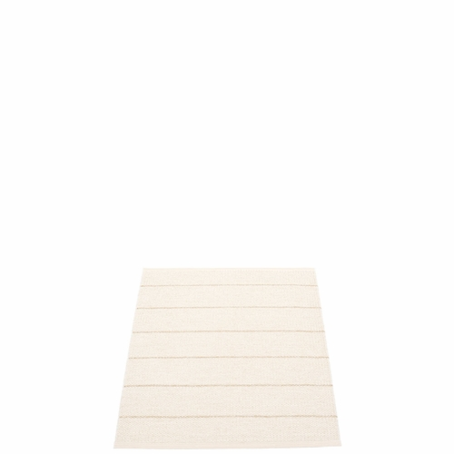 Pappelina Carl Plastic Rug - Vanilla with Reverse in White, Champagne Metallic Stripes, 2 1/4' x 3'