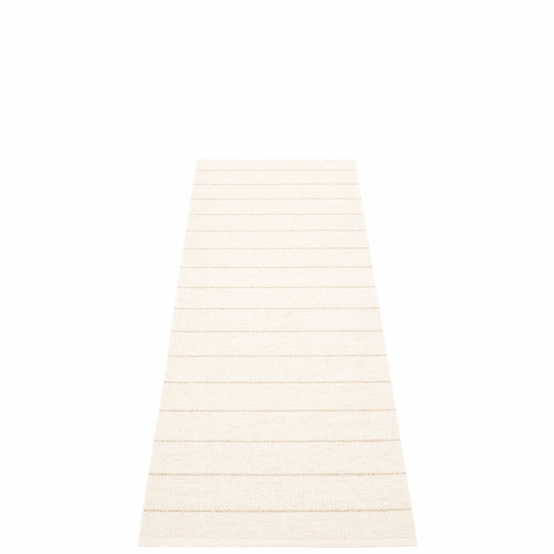 Pappelina Carl Plastic Rug - Vanilla with Reverse in White, Champagne Metallic Stripes, 2 1/4' x 6'