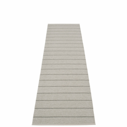 Pappelina Carl Plastic Rug - Warm Grey with Reverse in Fossil Grey, Stripes in Charcoal, 2 1/4' x 8 1/2'