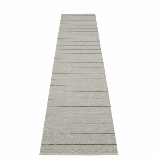 "Carl Plastic Rug - Warm Grey with Reverse in Fossil Grey, Stripes in Charcoal, 27"" x 138"""