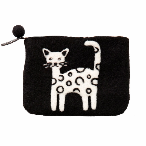 Cat Felted Wool Purse