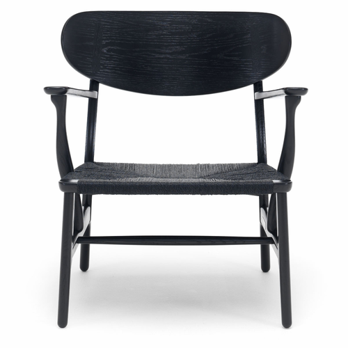 CH22 Lounge Chair, Oak Stained Black, Black Paper Cord