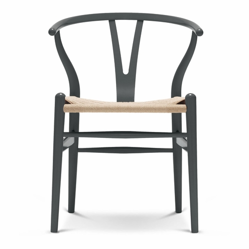 Carl Hansen & Son CH24 Wishbone Chair, Anthracite Grey, Natural Paper Cord Seat