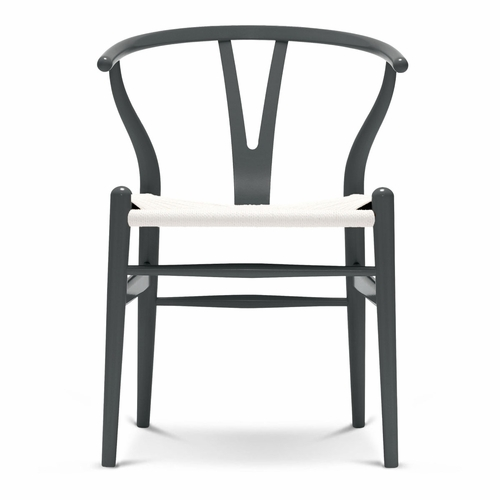 CH24 Wishbone Chair, Anthracite Grey, White Paper Cord Seat