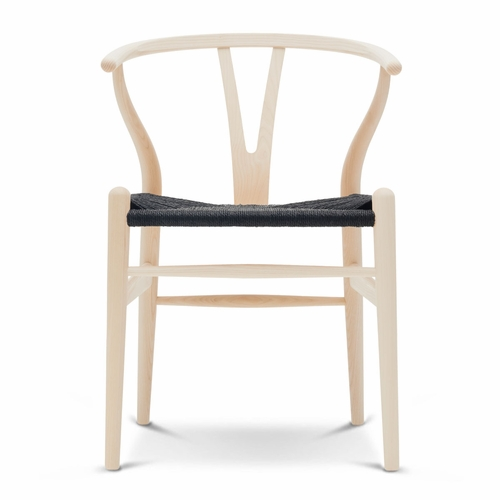 CH24 Wishbone Chair, Ash Lacquer, Black Paper Cord Seat