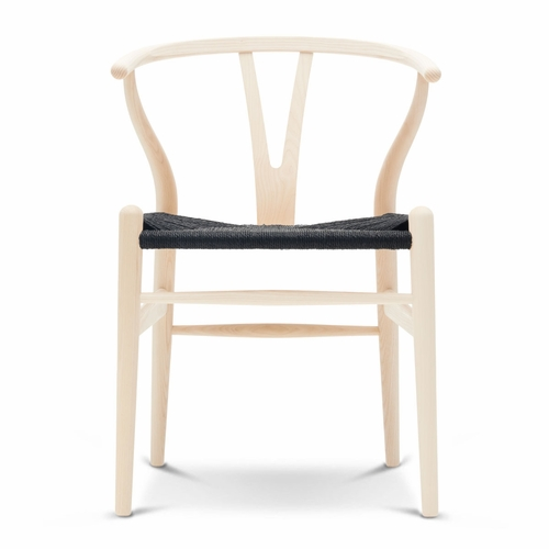 Carl Hansen & Son CH24 Wishbone Chair, Ash Soap, Black Paper Cord Seat