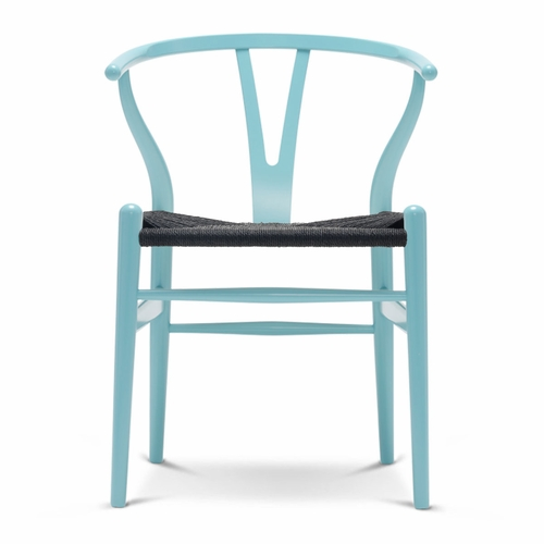 CH24 Wishbone Chair, Azure Blue, Black Paper Cord Seat