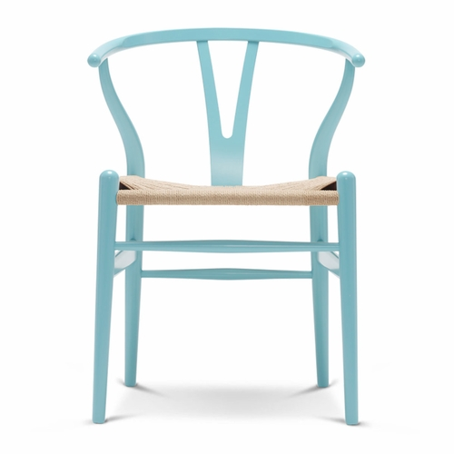 Carl Hansen & Son CH24 Wishbone Chair, Azure Blue, Natural Paper Cord Seat