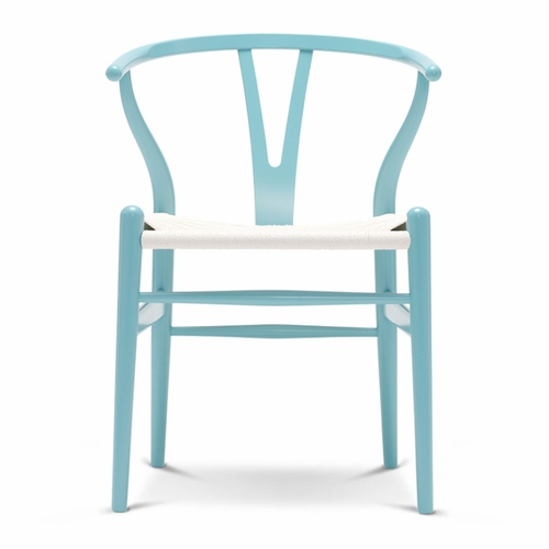 CH24 Wishbone Chair, Azure Blue, White Paper Cord Seat