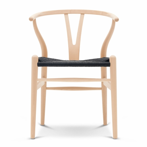 CH24 Wishbone Chair, Beech Soap, Black Paper Cord Seat