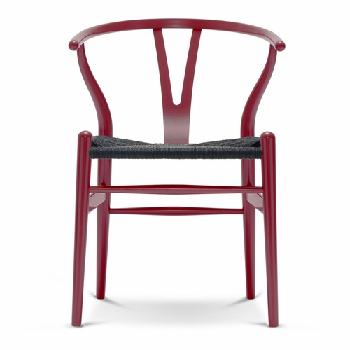CH24 Wishbone Chair, Berry Red, Black Paper Cord Seat
