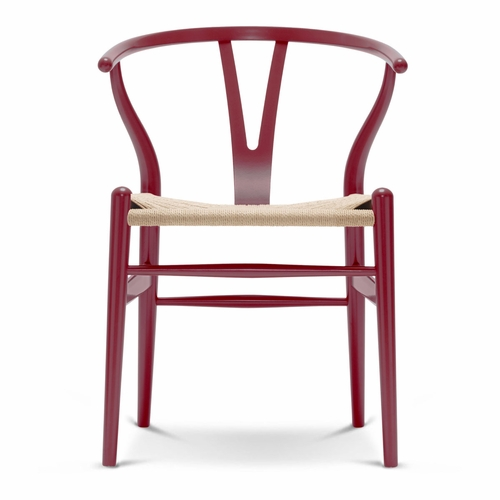 Carl Hansen & Son CH24 Wishbone Chair, Berry Red, Natural Paper Cord Seat