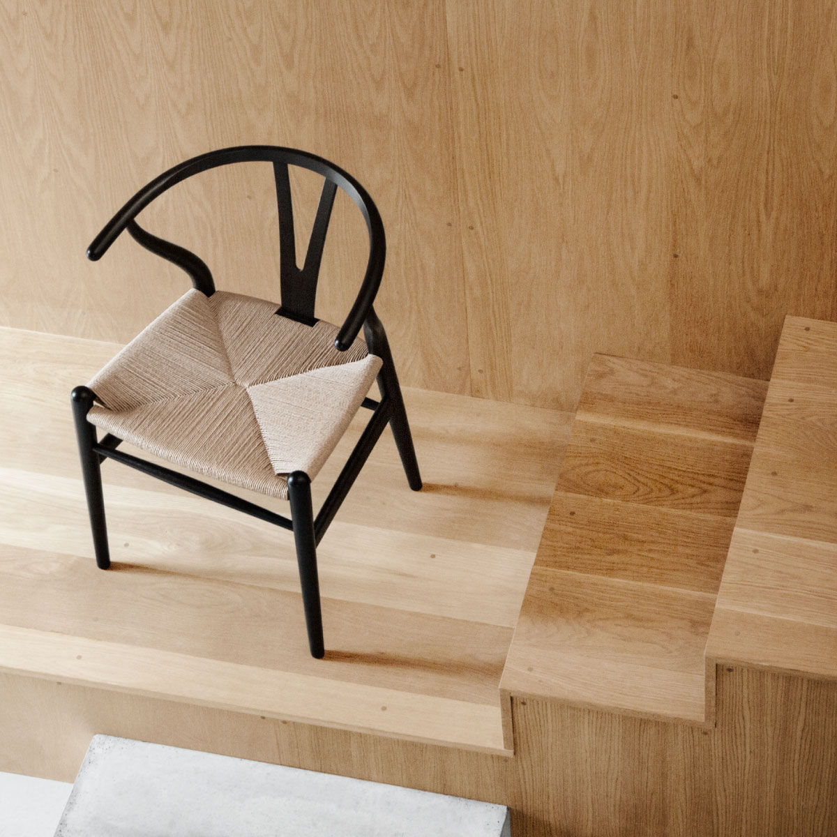 ... CH24 Wishbone Chair, Black Ash, Natural Paper Cord Seat ...