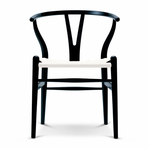 CH24 Wishbone Chair, Black Ash, White Paper Cord Seat