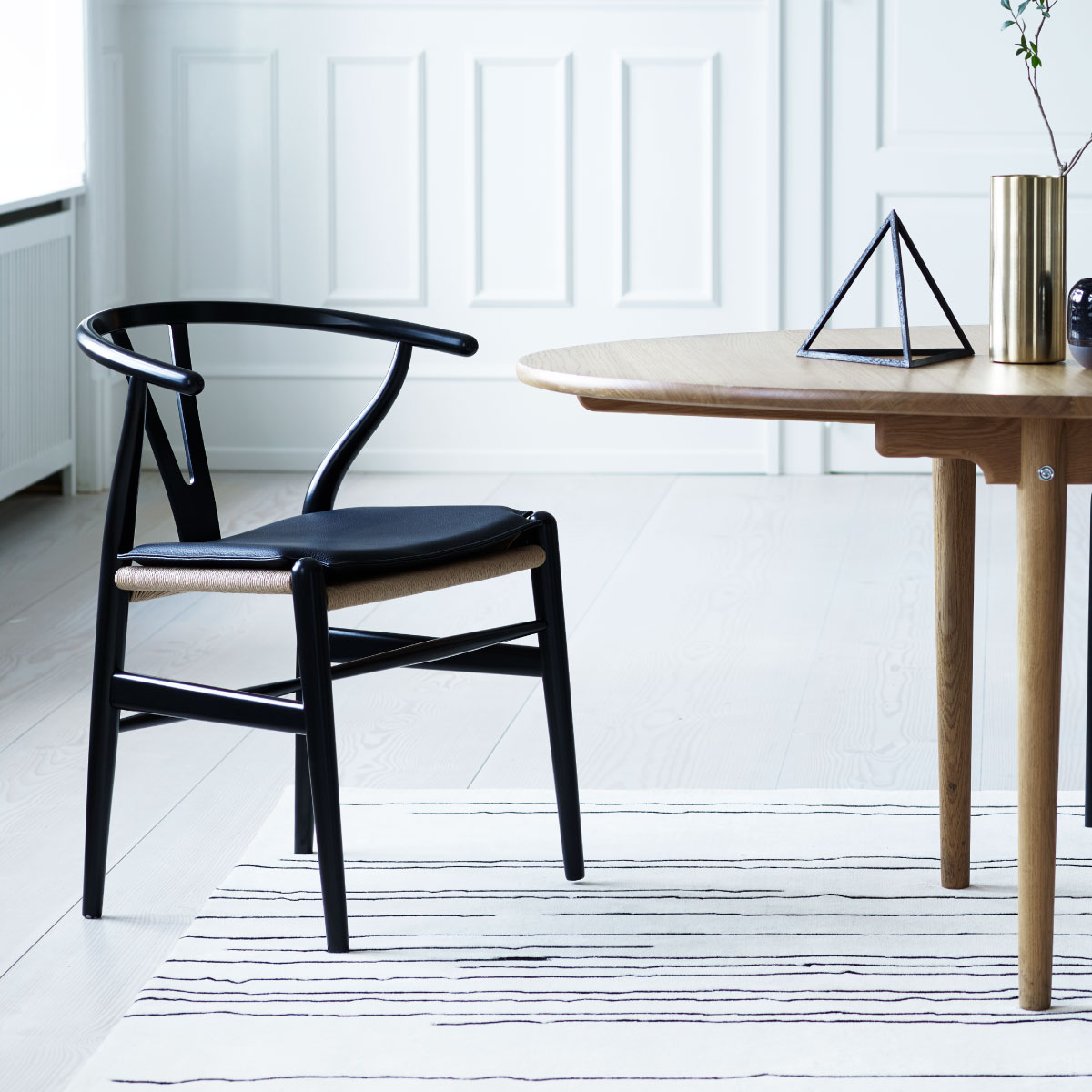 Merveilleux ... CH24 Wishbone Chair, Black Oak, Black Paper Cord Seat ...
