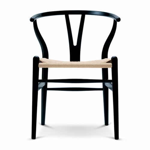 CH24 Wishbone Chair, Black Oak, Natural Paper Cord Seat