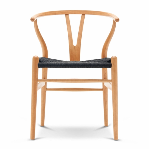 CH24 Wishbone Chair, Cherry Lacquer, Black Paper Cord Seat