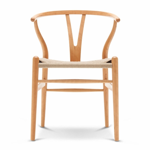 CH24 Wishbone Chair, Cherry Lacquer, Natural Paper Cord Seat