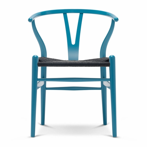 CH24 Wishbone Chair, Dark Blue, Black Paper Cord Seat