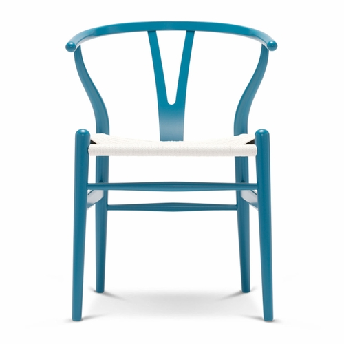 CH24 Wishbone Chair, Dark Blue, White Paper Cord Seat