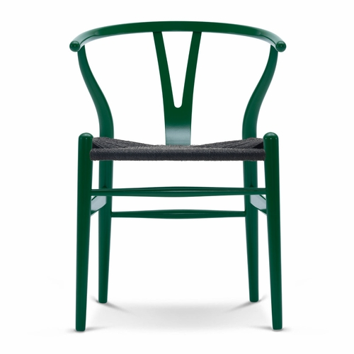 CH24 Wishbone Chair, Grass Green, Black Paper Cord Seat