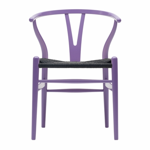 CH24 Wishbone Chair, Lavender Purple, Black Paper Cord Seat