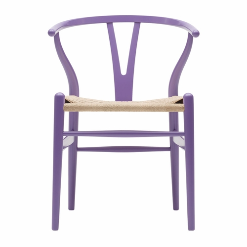 CH24 Wishbone Chair, Lavender Purple, Natural Paper Cord Seat