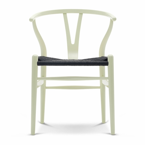 CH24 Wishbone Chair, Light Green, Black Paper Cord Seat