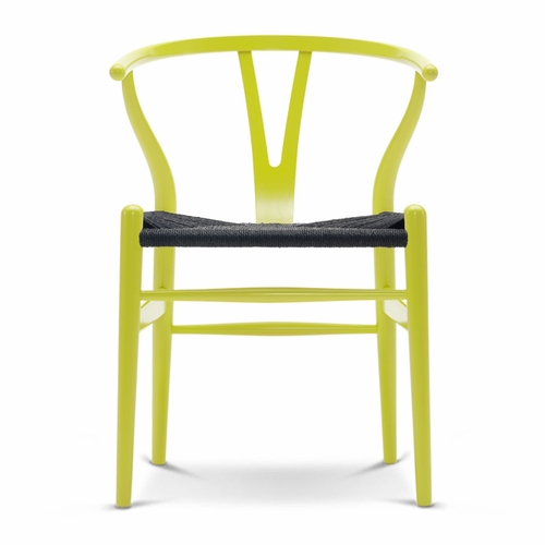 CH24 Wishbone Chair, Lime Green, Black Paper Cord Seat