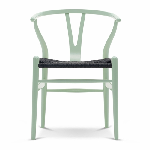 CH24 Wishbone Chair, Mint Green, Black Paper Cord Seat