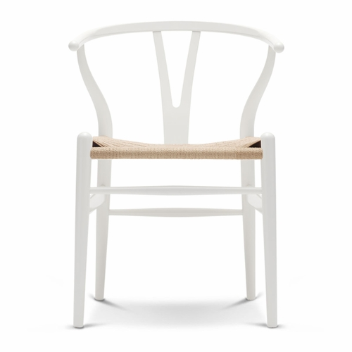 CH24 Wishbone Chair, Natural White, Natural Paper Cord Seat - Quick Ship